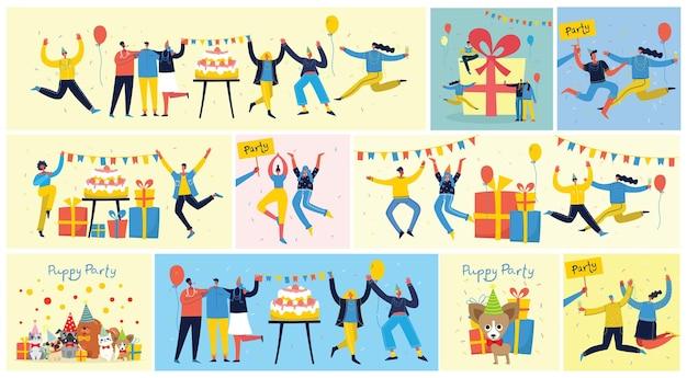 사람들의 행복한 그룹은 밝은 배경에서 생일을 축하합니다