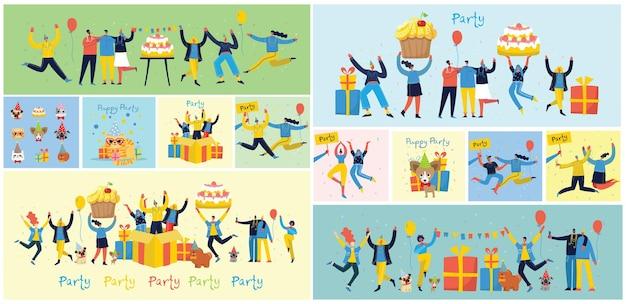 パーティーに飛び込む人々の幸せなグループ。誕生日会