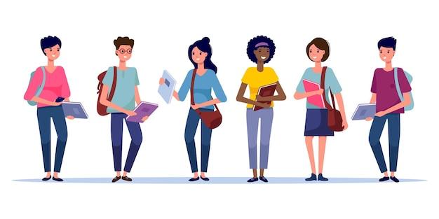 흰색 배경에 격리된 다양한 인종의 학생들이 행복한 그룹입니다. 배낭, 가방, 책을 들고 웃고 있는 젊은이들. 평면 스타일의 벡터 일러스트 레이 션. 교육 및 청소년 개념