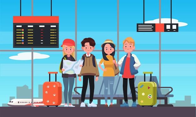空港で10代の旅行者の幸せなグループ。フラットスタイルのイラスト