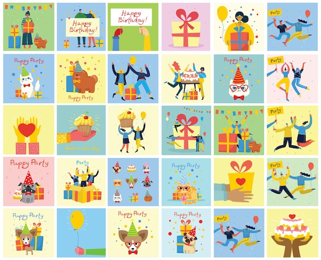 Happy group of people celebrating birthday. set of illustrations