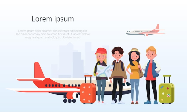 Happy group of teen traveler at the airport. illustration in a flat style