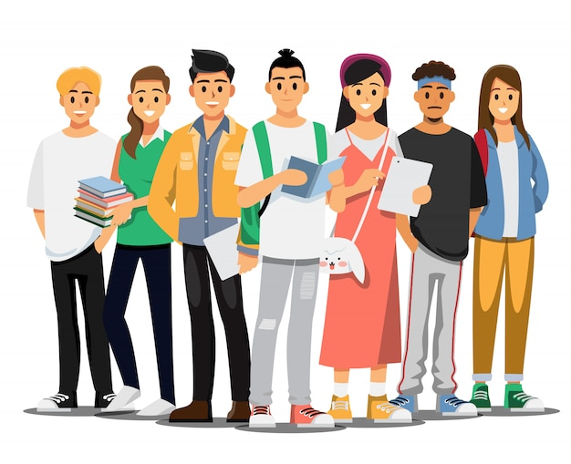 Happy group of teen university student . illustration cartoon character.