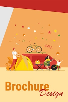 Happy group of tourists camping on nature isolated flat vector illustration. cartoon friends with kids sitting near bonfire and trailer. tourism, summer vacation and activity concept