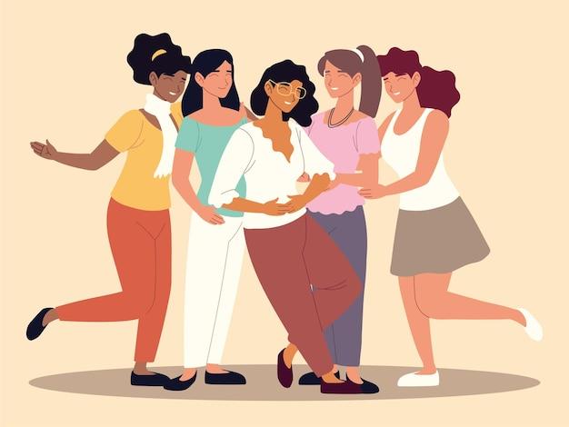 幸せなグループの女性の友達一緒にイラスト