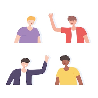 幸せなグループ若い男性漫画のキャラクターアイコン