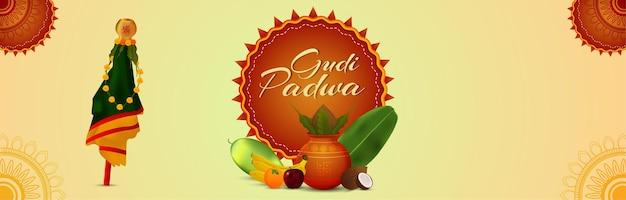 Happy gudi padwa celebration banner with realistic kalash