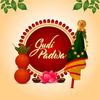 Happy gudi padwa celebration greeting card