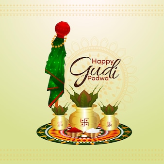 Happy gudi padwa celebration illustration with realistic kalash