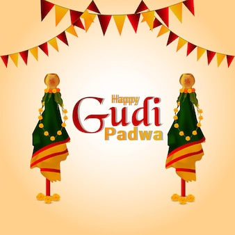 Happy gudi padwa celebration realistic kalash