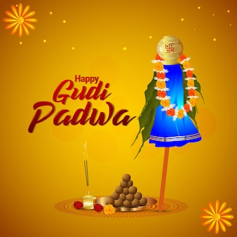 Happy gudi padwa design concept and greeting card