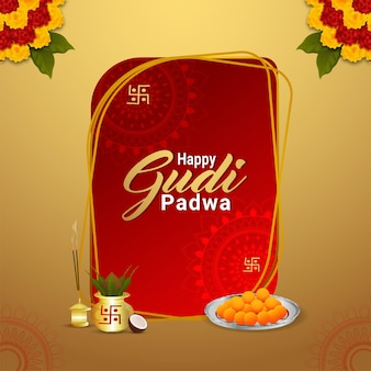 Концепция дизайна happy gudi padwa с реалистичным калашем и сладостями