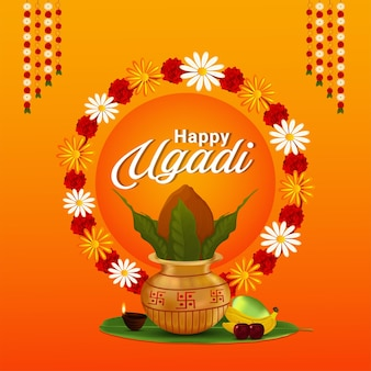 Happy gudi padwa design concept with realistic kalash and sweets