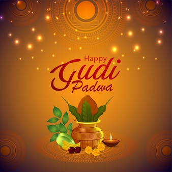 Happy gudi padwa event greeting card with creative kalash