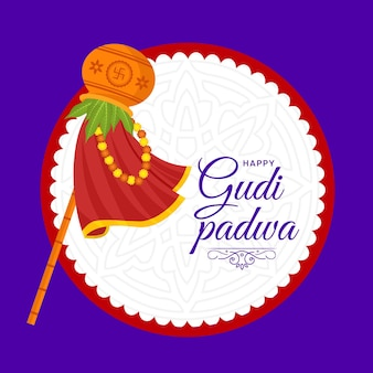 Happy gudi padwa festival banner design template