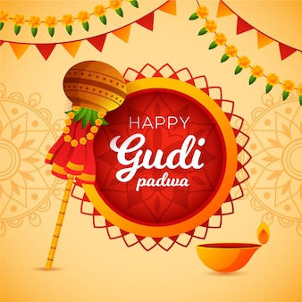 Happy gudi padwa flat design