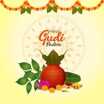 Happy gudi padwa greeting card with kalash