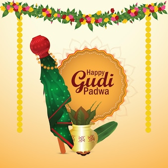 Happy gudi padwa greeting card with realistic kalash and sweets