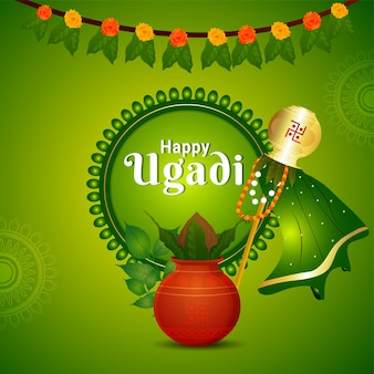 Happy gudi padwa greeting card