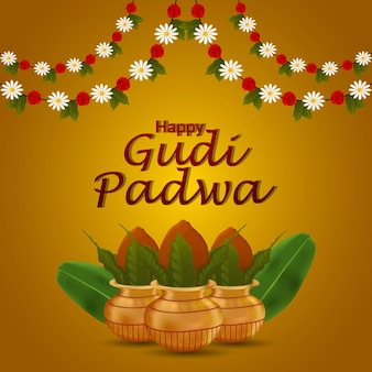 Happy gudi padwa or happy ugadi greeting card with traditional kalash