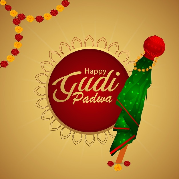 Happy gudi padwa , hindu new year greeting card and illustration