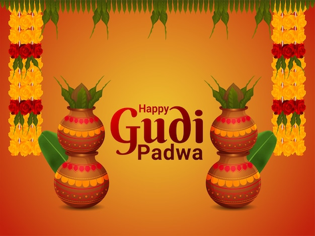 Happy gudi padwa holiday festival celebration greeting card