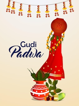 Happy gudi padwa holiday festival celebration greeting card Premium Vector