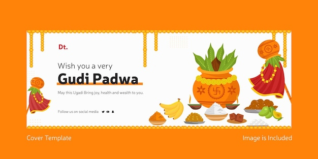 Happy gudi padwa indian festival facebook cover template