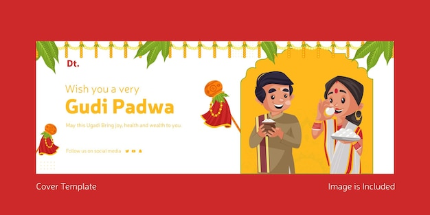 Happy gudi padwa indian festival with indian man and woman facebook cover template Premium Vector