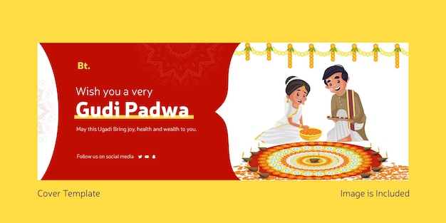 Happy gudi padwa indian festival with indian man and woman making rangoli of flowers facebook cover template
