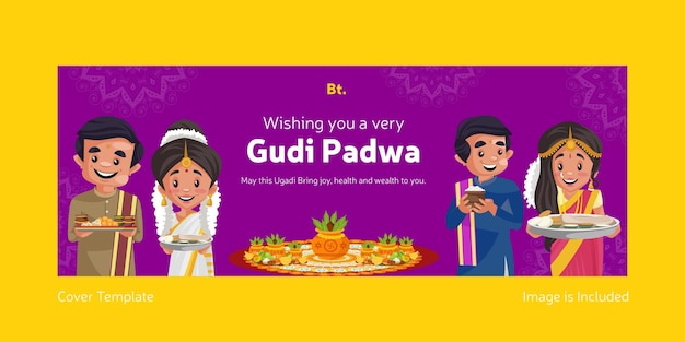 Happy gudi padwa indian festival with indian men and women facebook cover template
