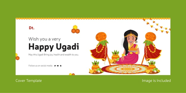 Happy gudi padwa indian festival with indian woman making rangoli of flowers facebook cover template