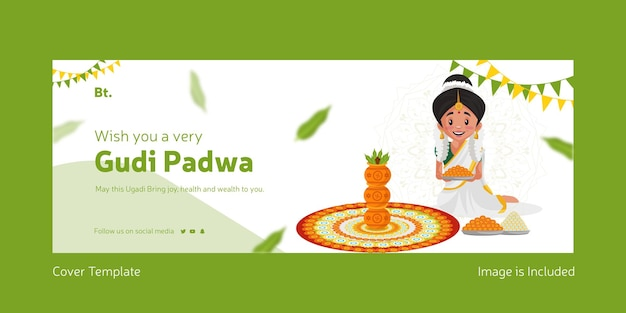 Happy gudi padwa indian festival with indian woman making rangoli with flowers facebook cover template