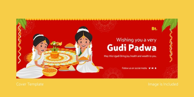 Happy gudi padwa indian festival with indian women making rangoli with flowers facebook cover template