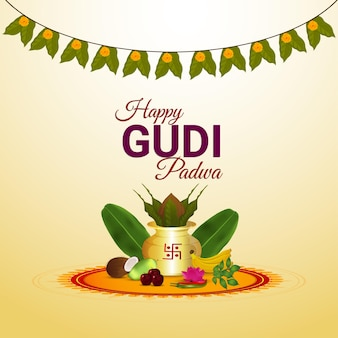 Happy gudi padwa, indian hindu festival celebration