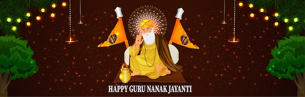 Happy guru nanak jayanti 배너 또는 헤더