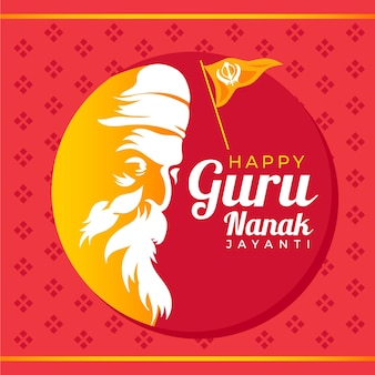 Happy guru nanak jayanti and flag
