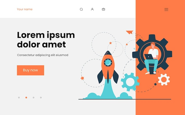 Happy guy developing project for startup. rocket, launch, laptop flat illustration