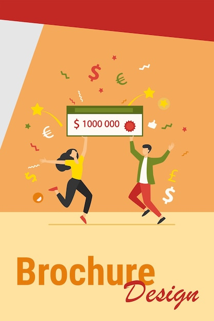 Happy guy and girl winning money prize. jackpot winners holding bank check for one million dollars. can be used for fortune, luck, lottery topics