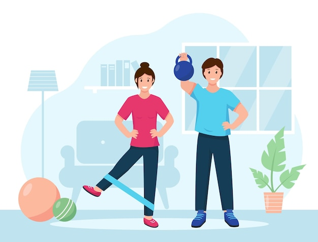 Happy guy and girl do a workout in the room