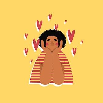 Счастливый парень в любви рисованной трендовый стиль