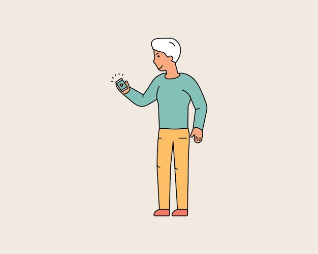 Happy guy looks at the smartphone that holds in his hand. man is watching video on the phone. colorful line characters people. flat design style minimal vector illustration.
