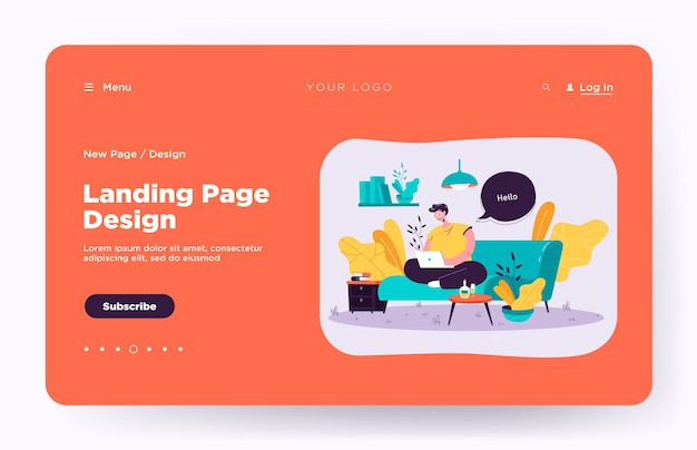 Happy guy sitting on sofa and working from home landing page