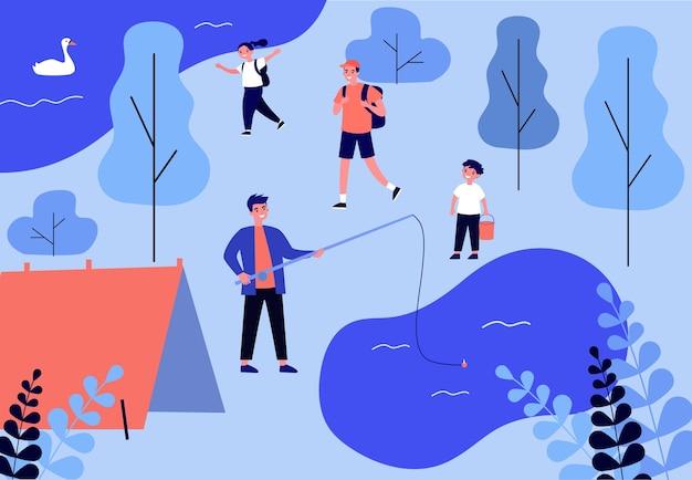 子供と自然にキャンプして幸せな男。湖、テント、森のイラスト。バナー、ウェブサイトまたはランディングウェブページの冒険と夏の休暇の概念