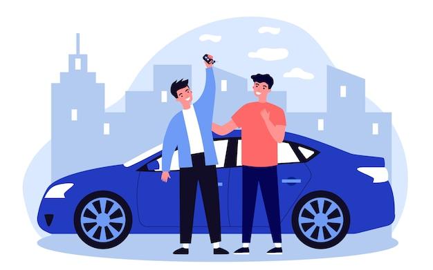 자동차 구입을 축하하는 행복한 사람들