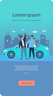 구매 자동차를 축 하하는 행복 한 사람
