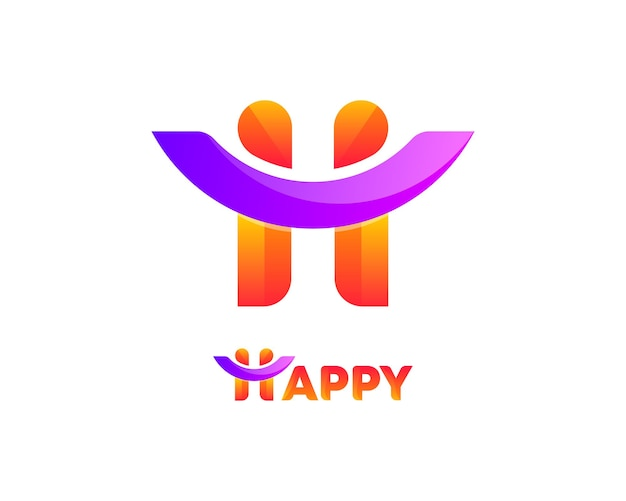 Happy h letter typography logo design
