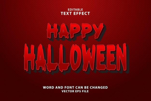 Счастливый хэллоуин 3d редактируемый текстовый эффект eps