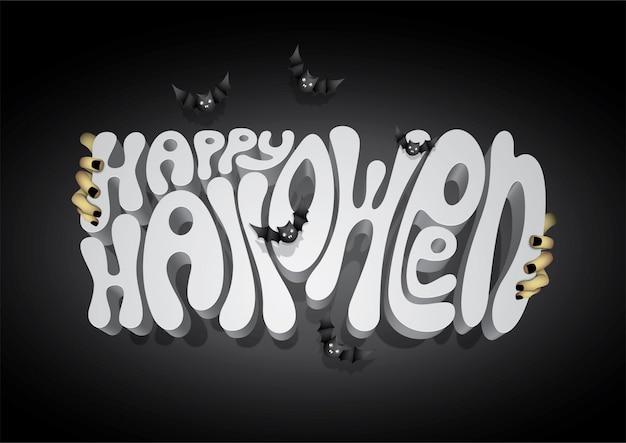 Happy halloween 3d font, halloween background.