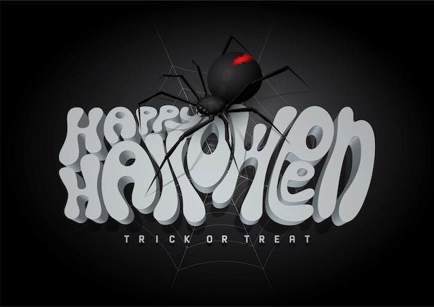 Happy halloween 3d font and spider, halloween background.